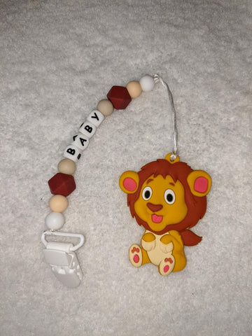 SILICONE TEETHER CHEWING TOY PACIFIER CLIP Lion TC1169