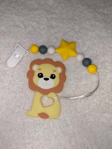 SILICONE TEETHER CHEWING TOY PACIFIER CLIP Lion TC1170