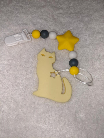 SILICONE TEETHER CHEWING TOY PACIFIER CLIP Kitty TC1173