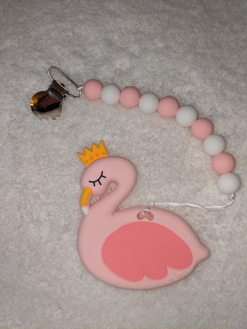 SILICONE TEETHER CHEWING TOY PACIFIER CLIP Swan TC1175