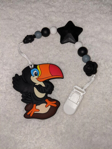 SILICONE TEETHER CHEWING TOY PACIFIER CLIP Bird Toucan TC1176
