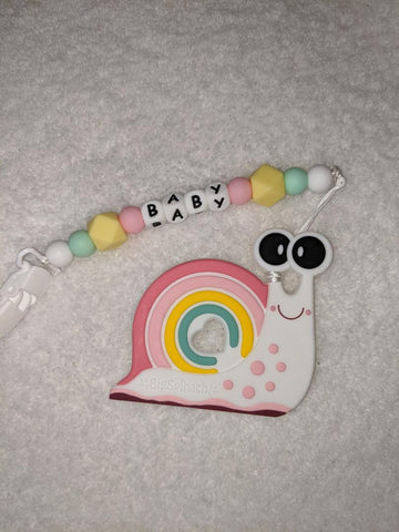 SILICONE TEETHER CHEWING TOY PACIFIER CLIP Snail TC1177