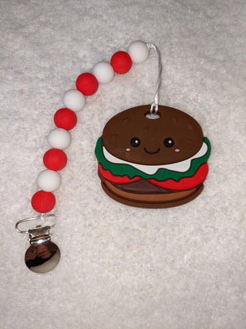 SILICONE TEETHER CHEWING TOY PACIFIER CLIP Food Hamburger TC1183
