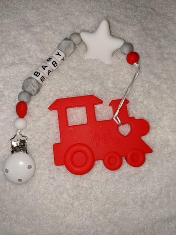 SILICONE TEETHER CHEWING TOY PACIFIER CLIP Vehicles Train TC1201