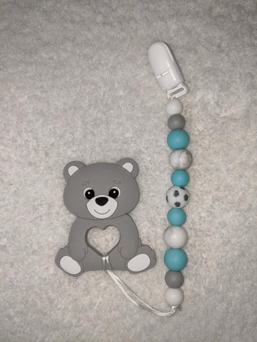 SILICONE TEETHER CHEWING TOY PACIFIER CLIP Bear TC1234
