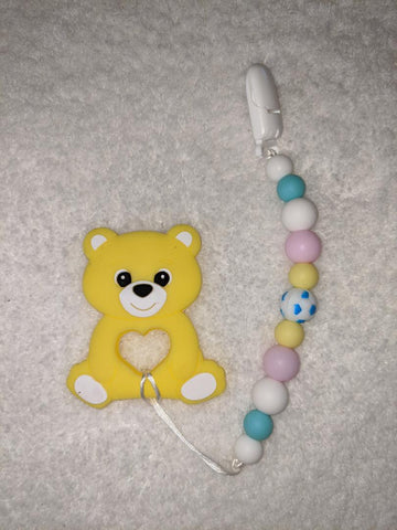 SILICONE TEETHER CHEWING TOY PACIFIER CLIP Bear TC1235