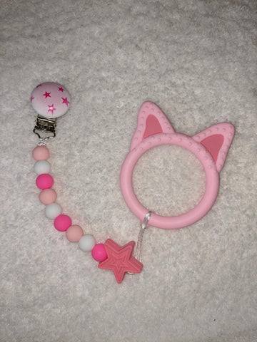 SILICONE TEETHER CHEWING TOY PACIFIER CLIP Piggy TC1242