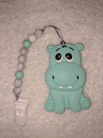 SILICONE TEETHER CHEWING TOY PACIFIER CLIP Hippo TC1245
