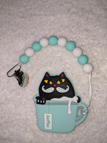 SILICONE TEETHER CHEWING TOY PACIFIER CLIP Kitty & Coffee TC1248