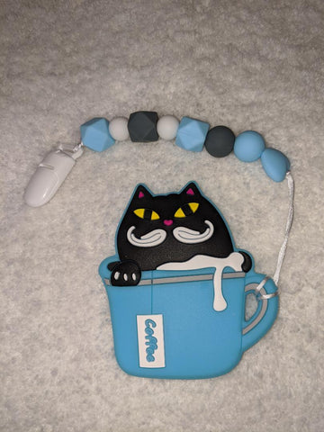 SILICONE TEETHER CHEWING TOY PACIFIER CLIP Kitty & Coffee TC1250