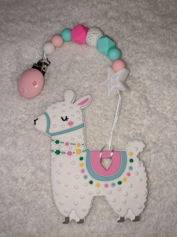 SILICONE TEETHER CHEWING TOY PACIFIER CLIP Alpaca TC1251