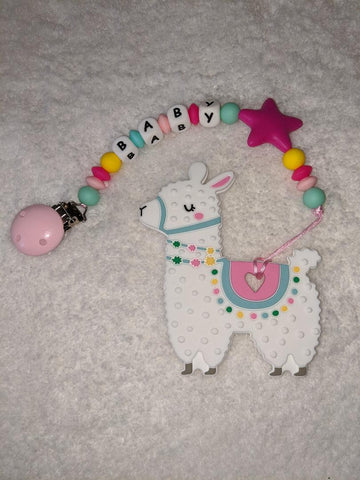SILICONE TEETHER CHEWING TOY PACIFIER CLIP Alpaca TC1252