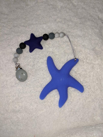 SILICONE TEETHER CHEWING TOY PACIFIER CLIP Ocean Star Fish TC1261