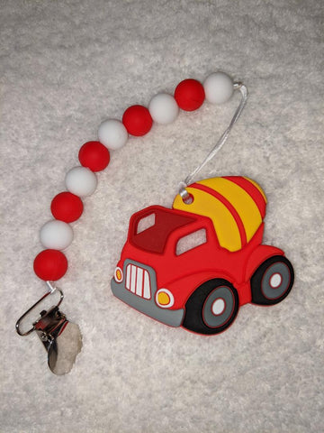 SILICONE TEETHER CHEWING TOY PACIFIER CLIP VEHICLES Construction Trucks TC1269