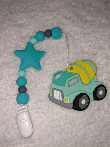 SILICONE TEETHER CHEWING TOY PACIFIER CLIP VEHICLES Construction Trucks TC1271