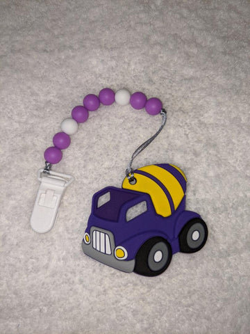 SILICONE TEETHER CHEWING TOY PACIFIER CLIP VEHICLES Construction Trucks TC1272
