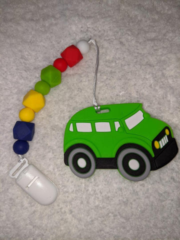 SILICONE TEETHER CHEWING TOY PACIFIER CLIP Car TC1275