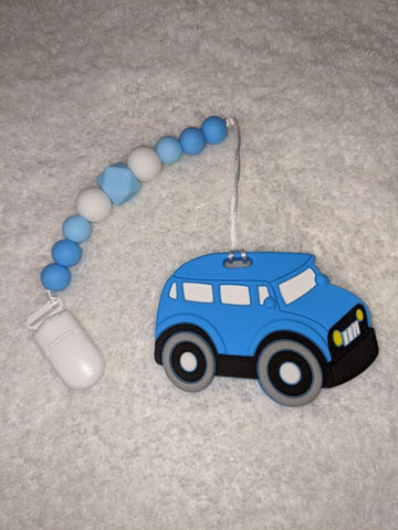SILICONE TEETHER CHEWING TOY PACIFIER CLIP Vehicles Car TC1276