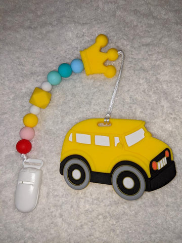 SILICONE TEETHER CHEWING TOY PACIFIER CLIP Vehicles Car TC1277