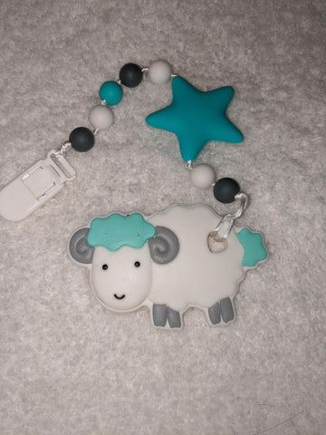 SILICONE TEETHER CHEWING TOY PACIFIER CLIP SHEEP RAM TC1304