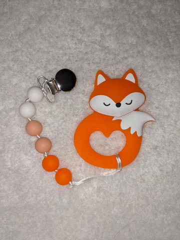 SILICONE TEETHER CHEWING TOY PACIFIER CLIP Fox TC1307