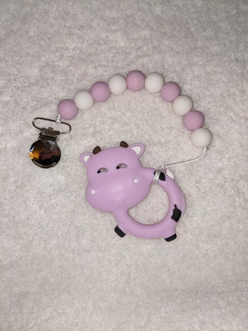 SILICONE TEETHER CHEWING TOY PACIFIER CLIP Cow TC1309