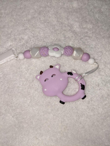 SILICONE TEETHER CHEWING TOY PACIFIER CLIP Cow TC1310