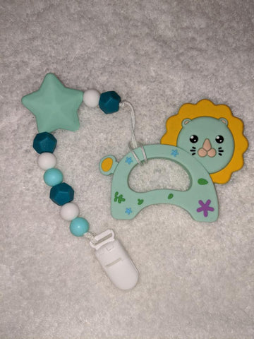 SILICONE TEETHER CHEWING TOY PACIFIER CLIP Lion TC1311