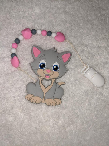 SILICONE TEETHER CHEWING TOY PACIFIER CLIP Kitty TC1316