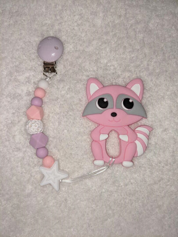 SILICONE TEETHER CHEWING TOY PACIFIER CLIP Raccoon TC1317
