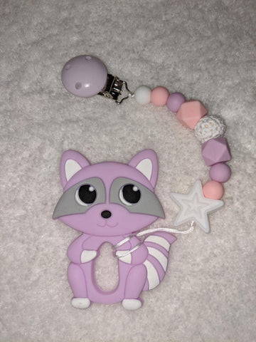 SILICONE TEETHER CHEWING TOY PACIFIER CLIP Raccoon TC1320