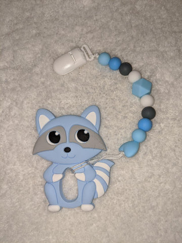 SILICONE TEETHER CHEWING TOY PACIFIER CLIP Raccoon TC1321