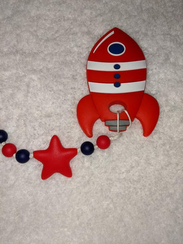 SILICONE TEETHER CHEWING TOY PACIFIER CLIP SPACE SHIP TC1326