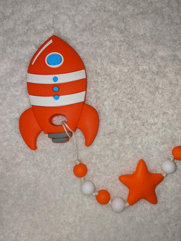 SILICONE TEETHER CHEWING TOY PACIFIER CLIP SPACE SHIP TC1328