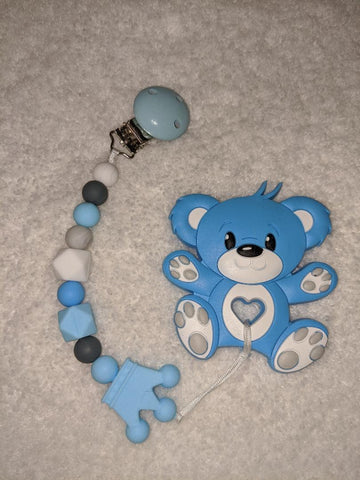 SILICONE TEETHER CHEWING TOY PACIFIER CLIP Bear TC1334