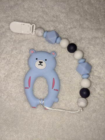 SILICONE TEETHER CHEWING TOY PACIFIER CLIP Bear TC1338
