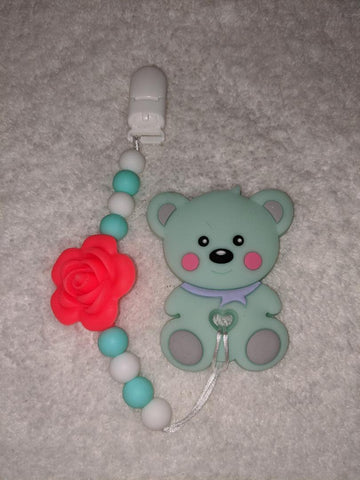SILICONE TEETHER CHEWING TOY PACIFIER CLIP Bear TC1340