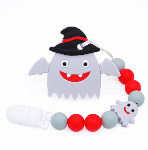 SILICONE TEETHER CHEWING TOY PACIFIER CLIP Ghost TC1344