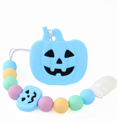 SILICONE TEETHER CHEWING TOY PACIFIER CLIP PUMPKIN TC1346