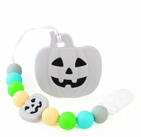 SILICONE TEETHER CHEWING TOY PACIFIER CLIP PUMPKIN TC1347