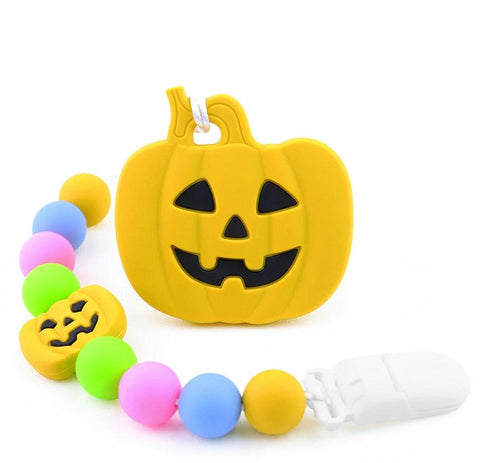 SILICONE TEETHER CHEWING TOY PACIFIER CLIP PUMPKIN TC1348