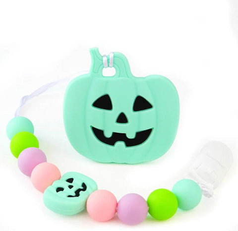 SILICONE TEETHER CHEWING TOY PACIFIER CLIP PUMPKIN TC1349