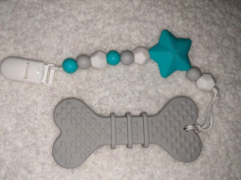 SILICONE TEETHER CHEWING TOY PACIFIER CLIP DOG BONE TC1357