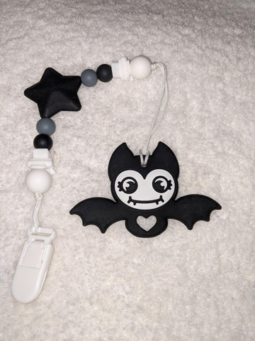 SILICONE TEETHER CHEWING TOY PACIFIER CLIP Bat TC1365