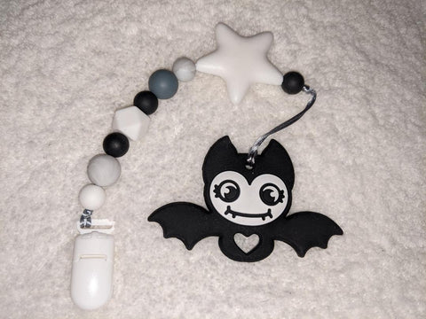 SILICONE TEETHER CHEWING TOY PACIFIER CLIP Bat TC1366