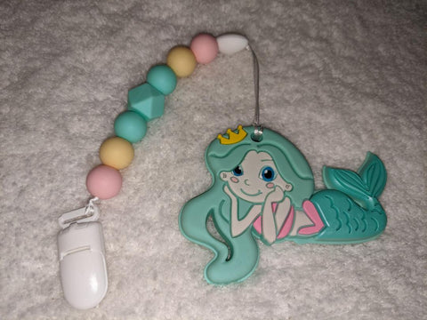 SILICONE TEETHER CHEWING TOY PACIFIER CLIP Ocean Mermaid TC1382