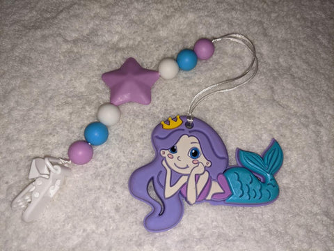 SILICONE TEETHER CHEWING TOY PACIFIER CLIP Ocean Mermaid TC1389