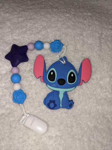 SILICONE TEETHER CHEWING TOY PACIFIER CLIP Alien TC1394