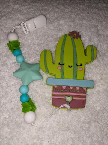 SILICONE TEETHER CHEWING TOY PACIFIER CLIP Cactus TC1395