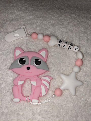 SILICONE TEETHER CHEWING TOY PACIFIER CLIP Raccoon TC1397